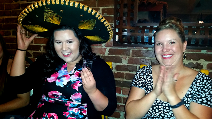 21st birthday shot in a sombrero