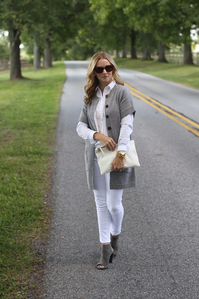 boden coatigan, citizens white jeans, stuart weitzman peep toe booties, ray ban sunglasses