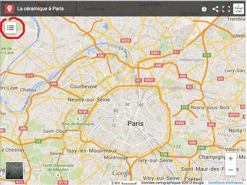 La céramique à Paris: Carte géographique