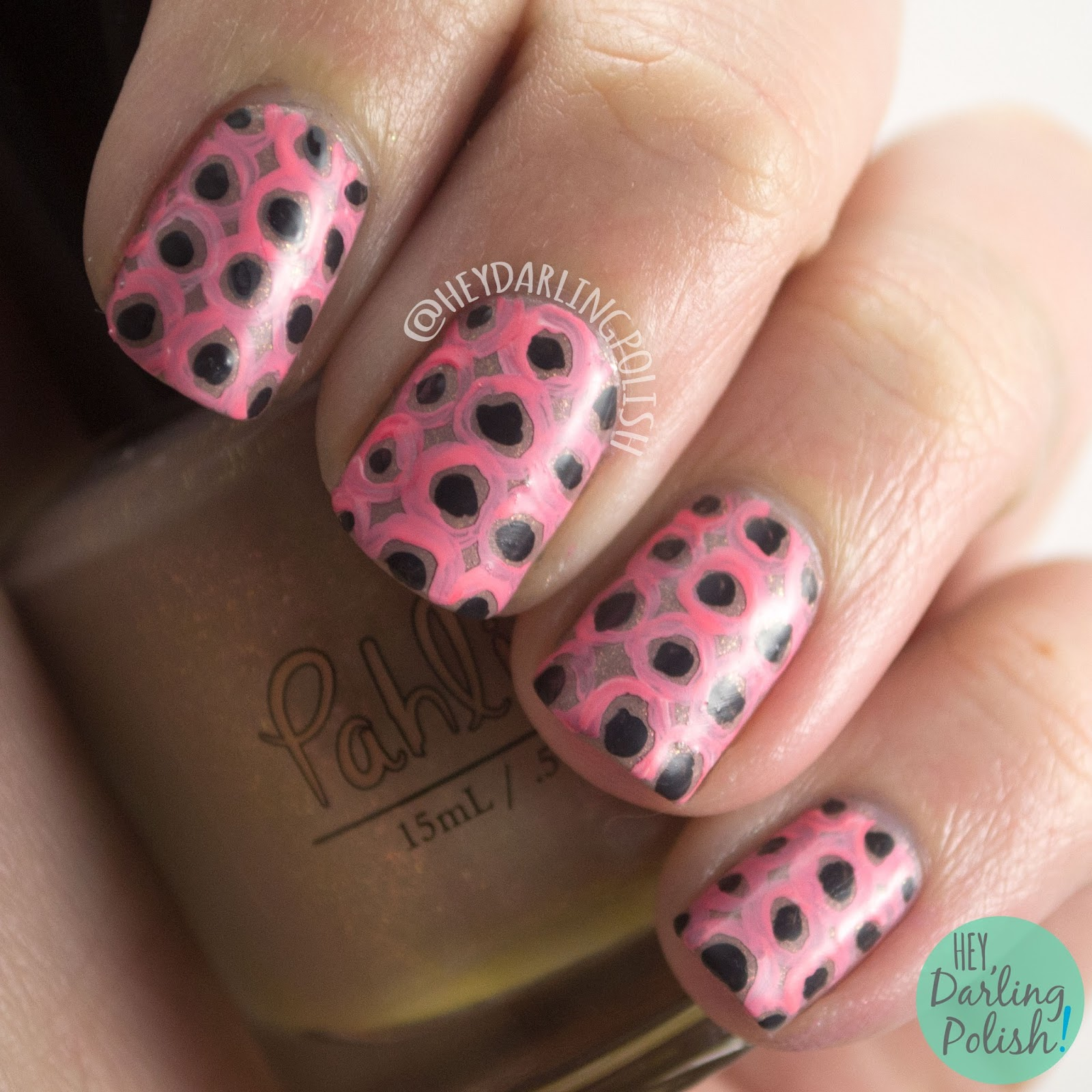 nails, nail art, nail polish, polka dots, dots, pink, hey darling polish, pattern, the nail challenge collaborative