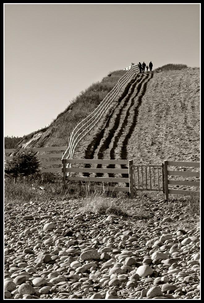 Nova Scotia; Hirtle's Beach; Rocks; Fence; Drumlin Cliff