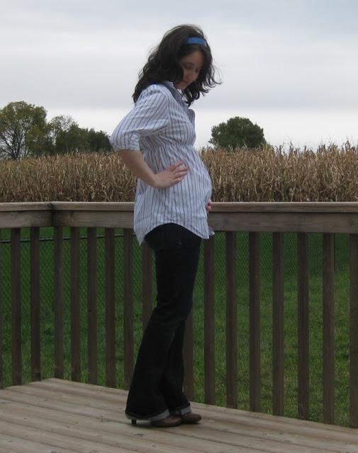 Dress shirt to maternity Top refashion