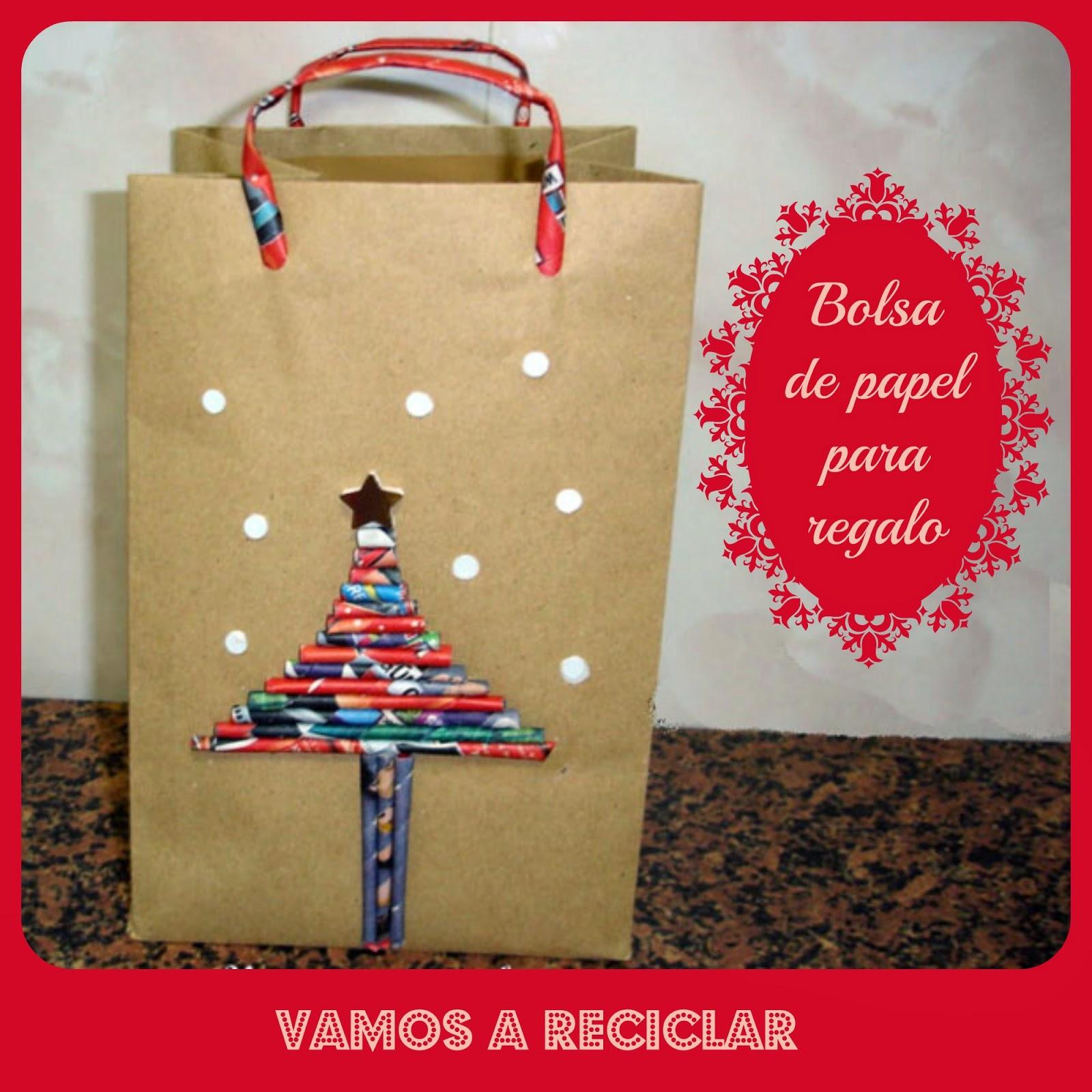 Bolsa de papel para regalo enganchada al reciclaje - Bolsa de papel para regalo ...
