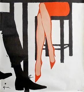 illustration of legs by french illustrator rene gruau
