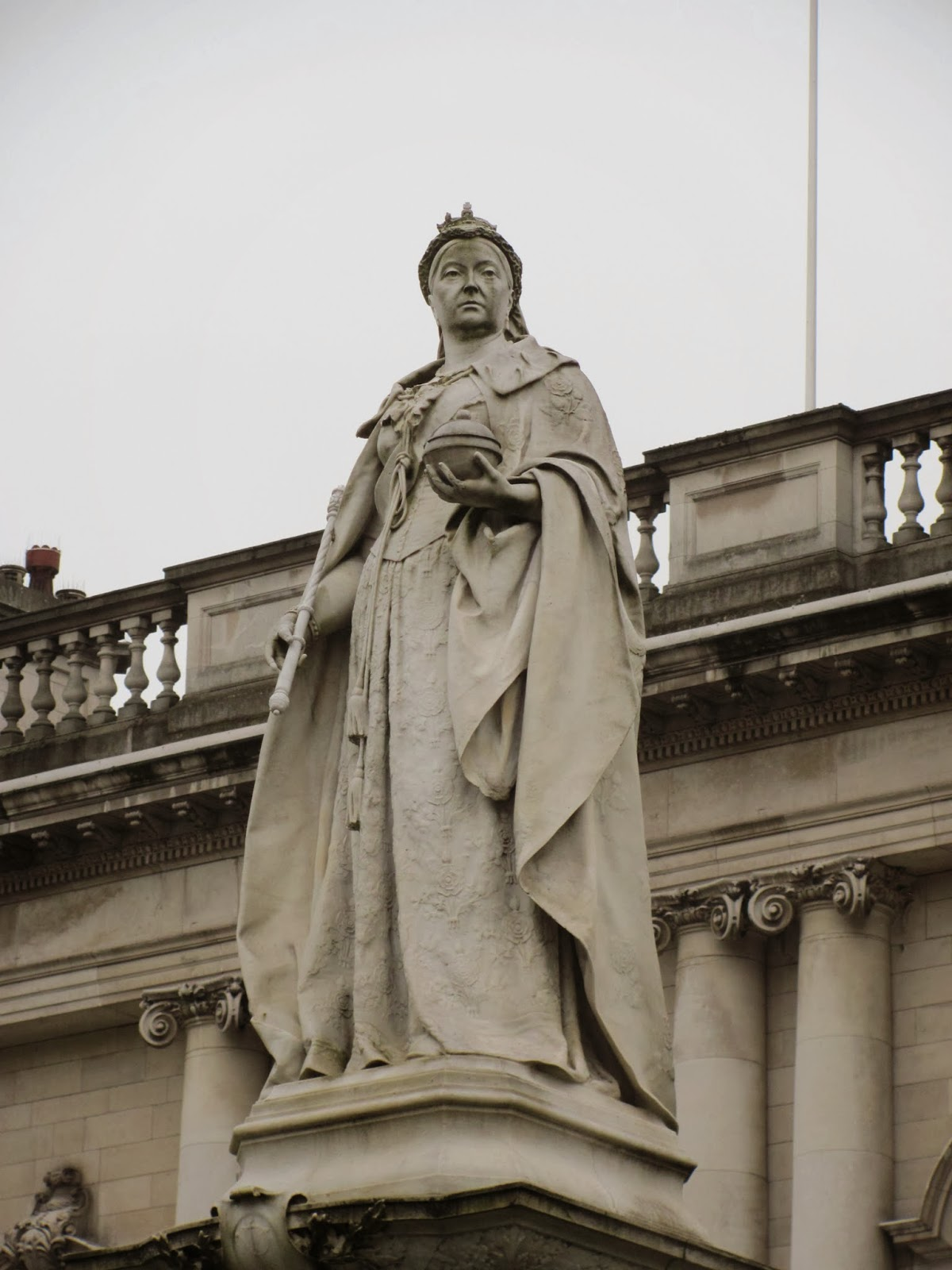 Queen Victoria scowls down the street of Belfast, Northern Ireland