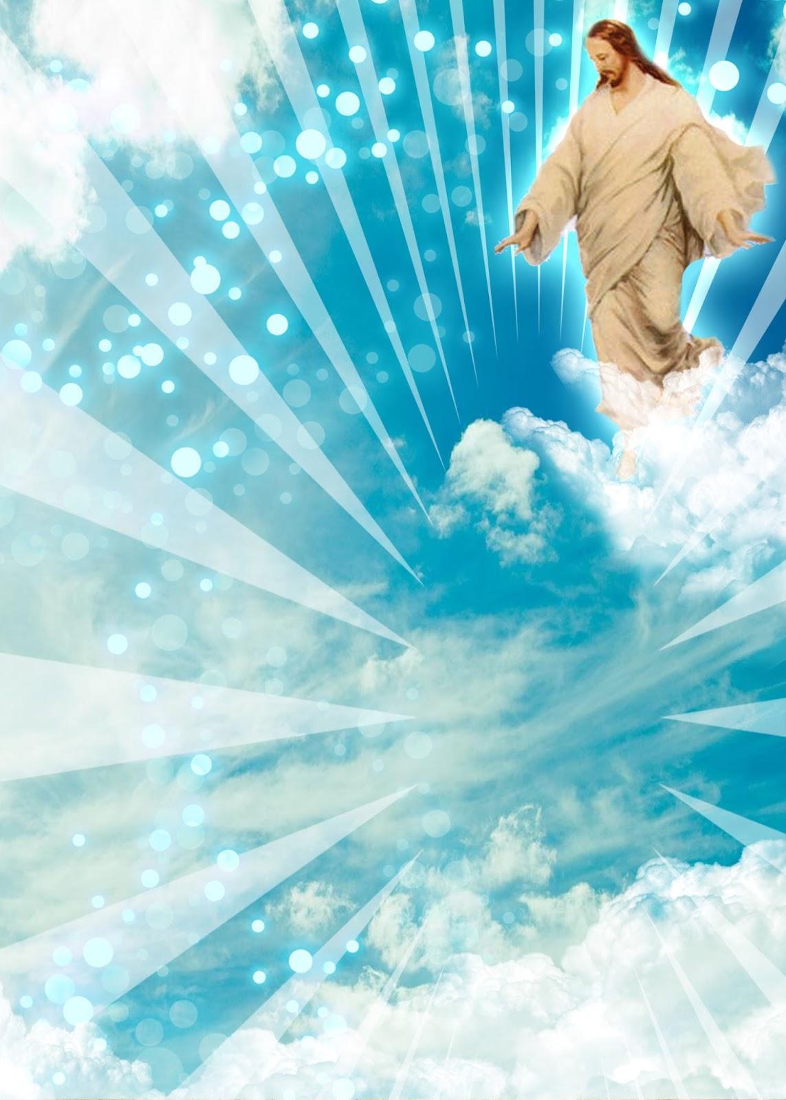 Invitación para Bautizo o Comunión con fondo cielo e imagen de Jesus