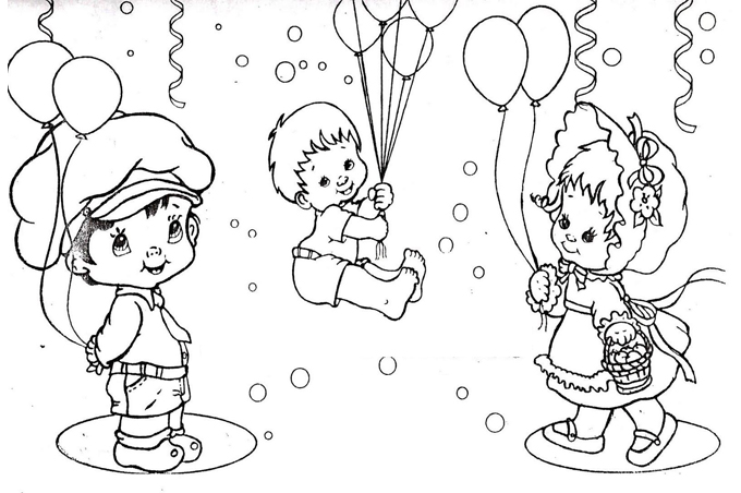 صورة بنت واطفال يحملون البالونات الجميلة للتلوين