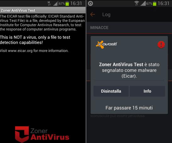 Test virus individuato da app antivirus Android