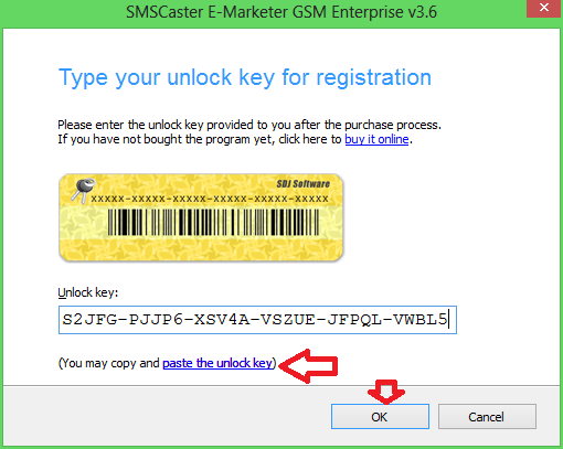 "Klik ""paste the unlock key"" kemudian klik Ok, maka SMS Caster sudah ..."