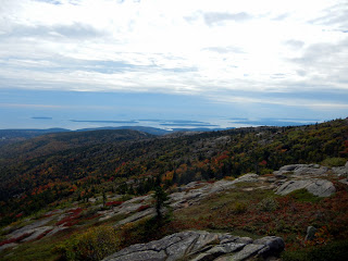 Atlantic Ocean and island views from Cadillac Mountain summit in Acadia National Park