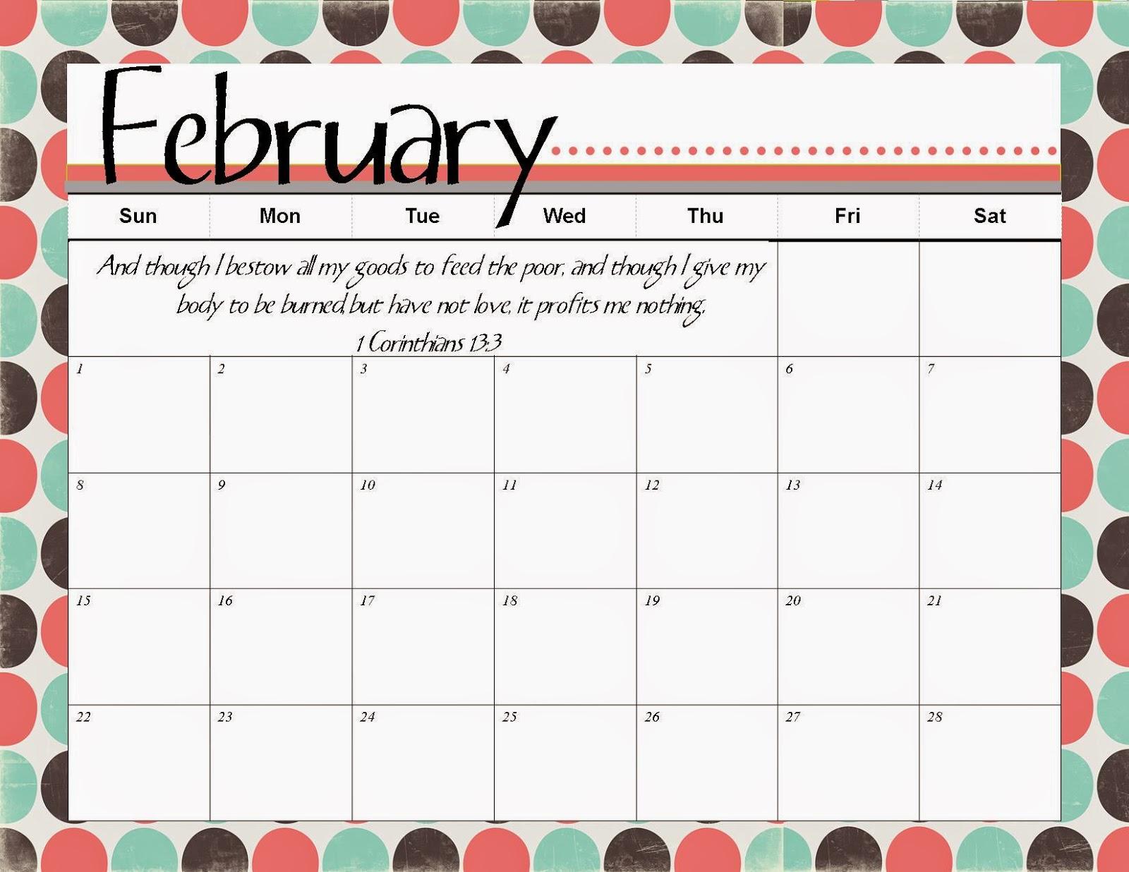 Printable 8x10 2016 February Calendar | Calendar Template 2016