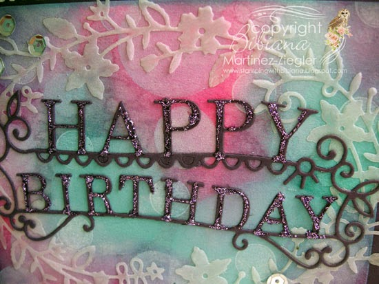 bokeh with distress inks happy birthday card detail