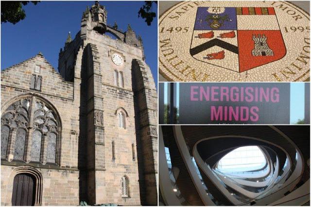 King's College, Escudo de la Universidad, Energising Minds (titulo del Festival de la Ciencia Britanico 2012, Bristih Science Festival), Escaleras en la biblioteca de la Universidad de Aberdeen, University of Aberdeen