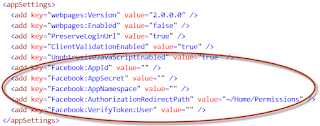 web.config for facebook appsetting