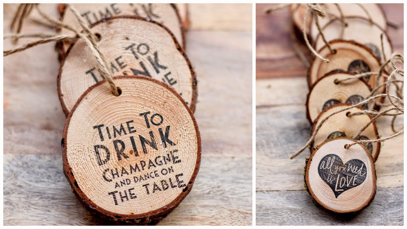 Dream State DIY Rustic Party Decoration Or Party Favor Stamped Wood Rounds