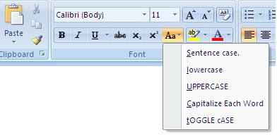 Types of Changing Case in MS Word 2007
