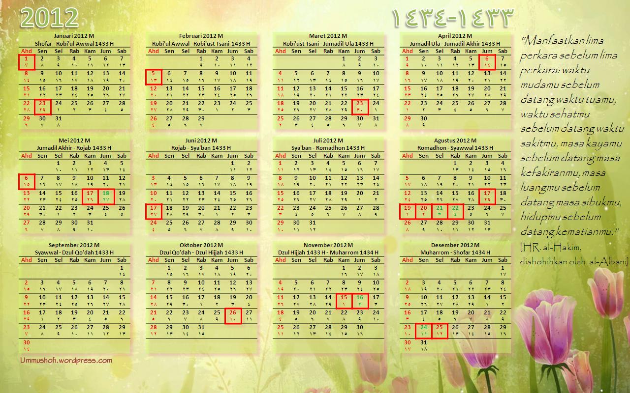 kalender 2012 disamping adalah kalender yang sekaligus menampilkan