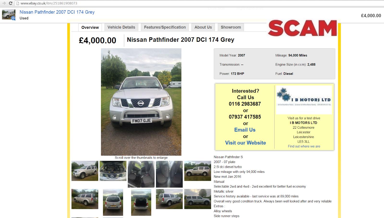 Ebay scam : Dealer hijack - i b motors ltd - nissan pathfinder ...