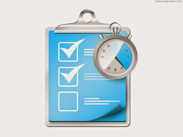 Checklist with Stopwatch Icon PSD