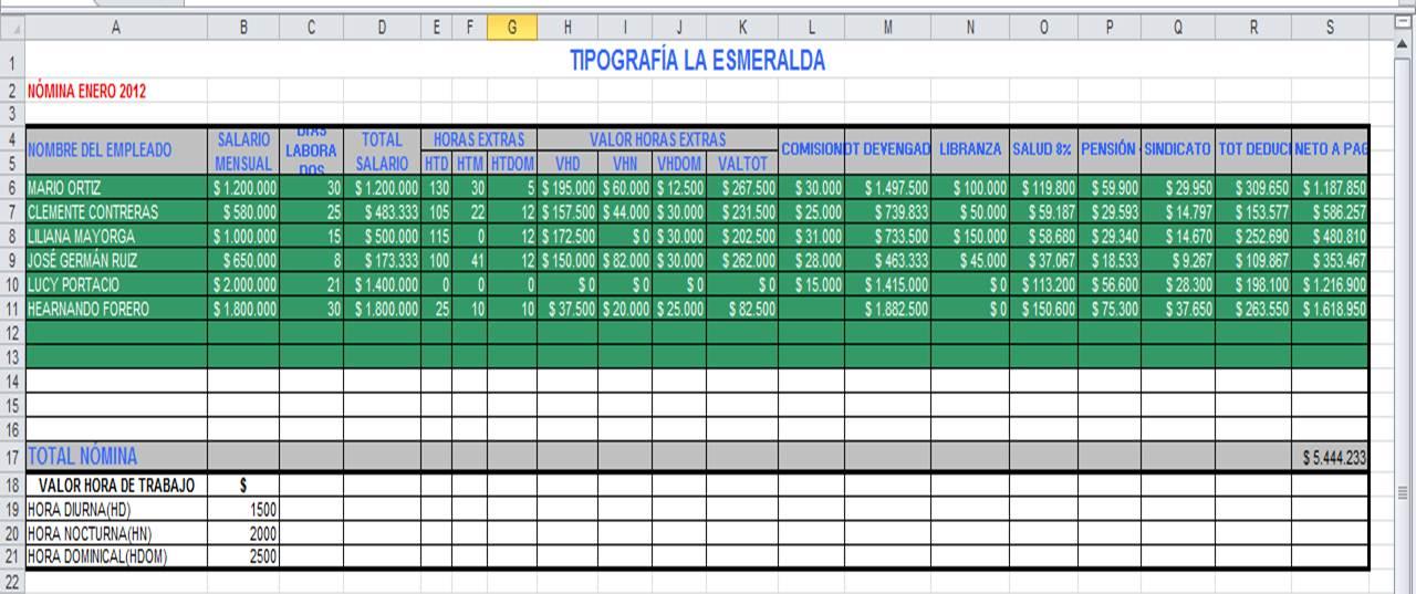 Herramientas informaticas formato nomina excel new for Formato nomina excel