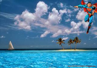 Superman Wallpaper of Superman Flying in the Sky at Blue Tropical Island Desktop wallpaper