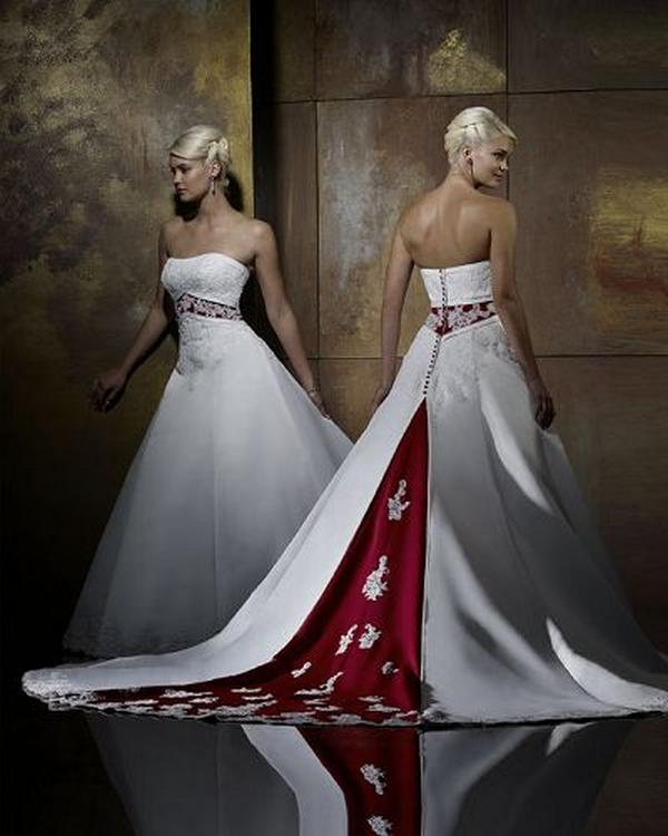 Wedding Dresses Color Red : Sweetheart neck impeccable red full wedding gown vzt cheap appealing