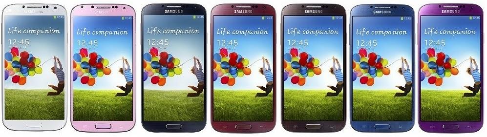Samsung Galaxy S4 disponible en Blanco hielo, rosa crepúsculo, negro niebla, rojo aurora, marron otono, azul ártico y púrpura espejo