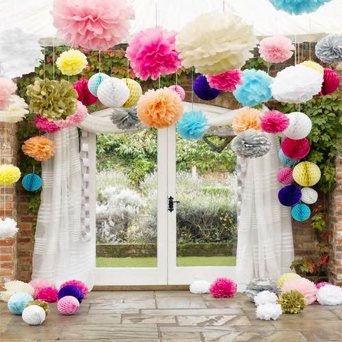 37 ideias para decorar com pompons de papel de seda - Papel para decorar ...