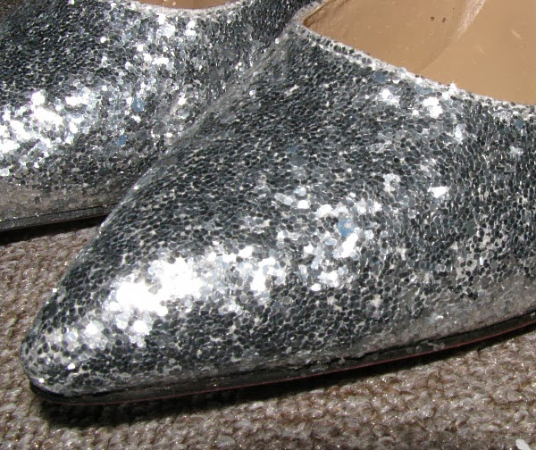 Sexy Pointed Toe Silver Sequins Slim Heel Glitter Pumps details