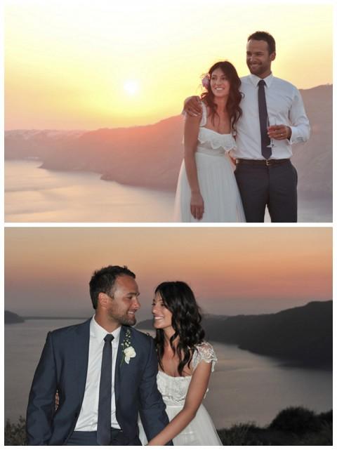 Boda griega en Santorini, la puesta de sol