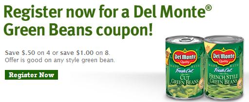 Printable: Del Monte Green Beans coupon for Thanksgiving dinner
