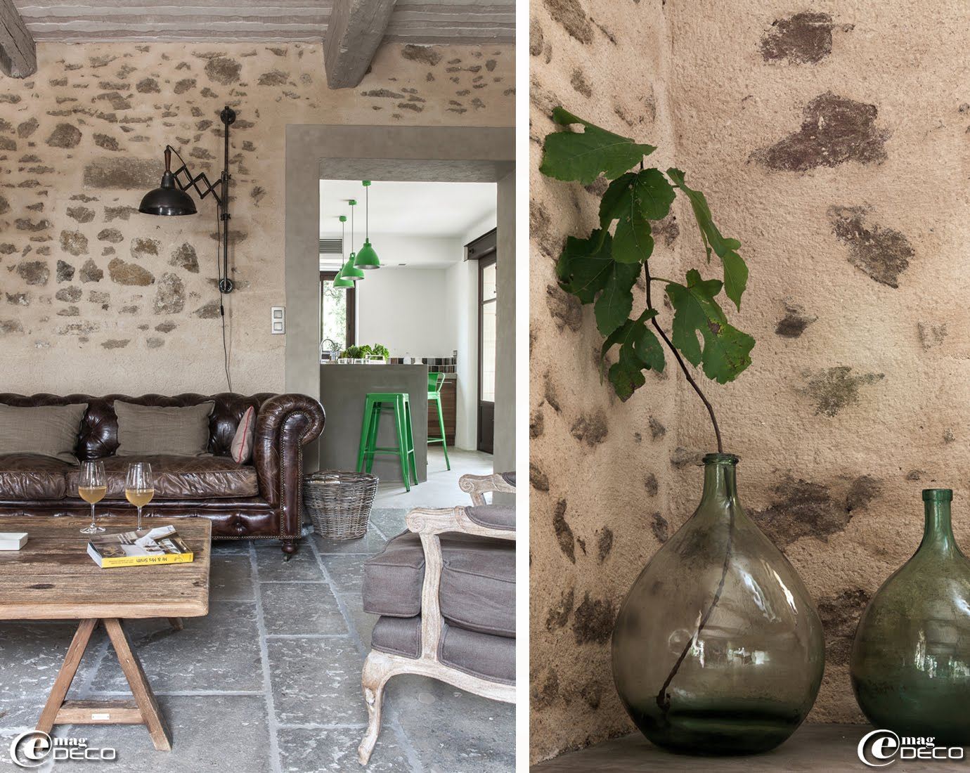 Salon et cuisine de la maison d'hôtes de charme 'La Bergerie de Nano', près de Beaumes-de-Venise