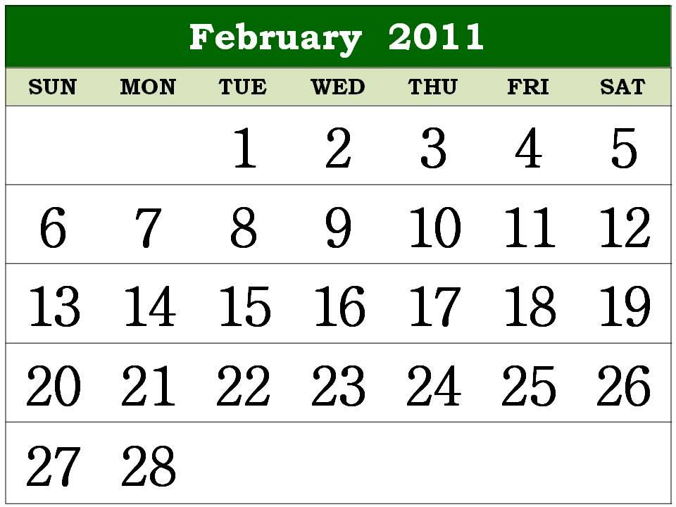 2011 calendar february. Free Homemade Calendar 2011