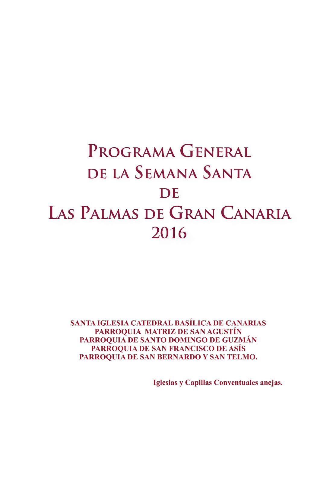 PROGRAMA  DE LA SEMANA SANTA 2016