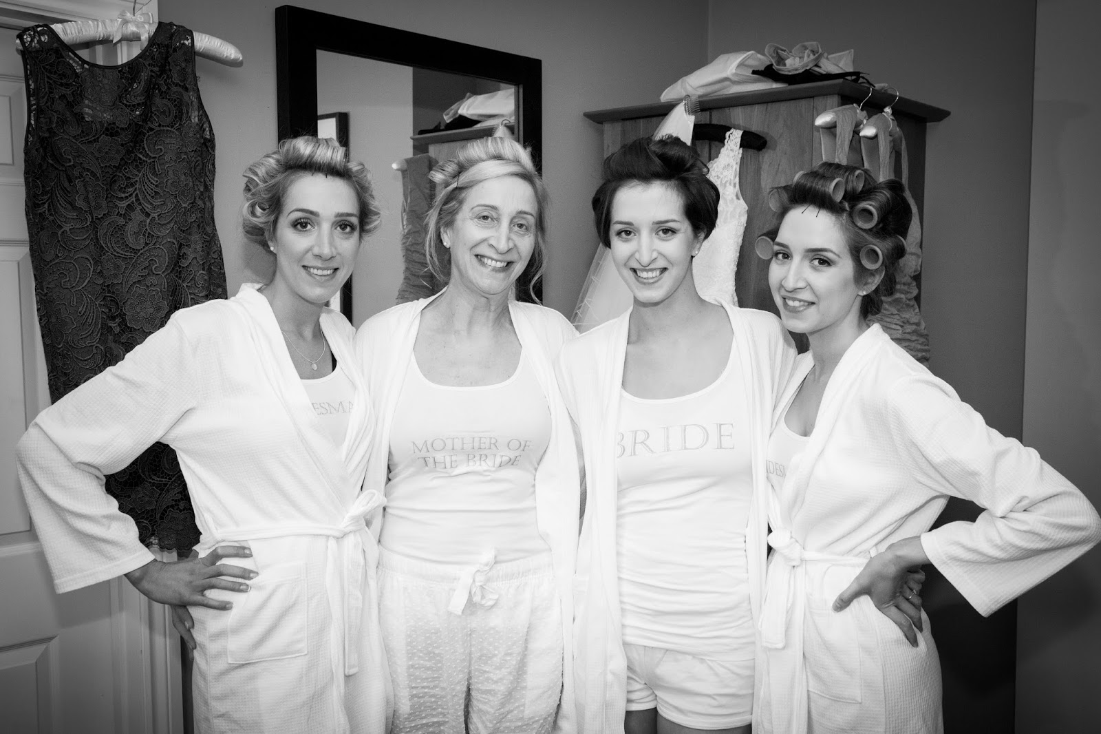 Morning wedding preparations, bridesmaids, matching pj's, personalised dressing gowns