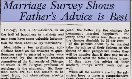 Marriage Advice from 1933 - survey shows father's advice is best - paper article newspaper