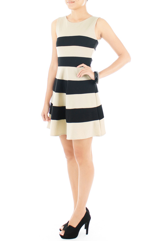 Jewel Stripe PETITE Flare Dress – Eggshell