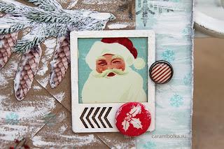 Новогодняя открытка, открытка с Санта-Клаусом. Полароид, чипборд, штампы, снежинки, глиттер, скрап-фишка Скрапбукшоп, брадс, акриловая краска.