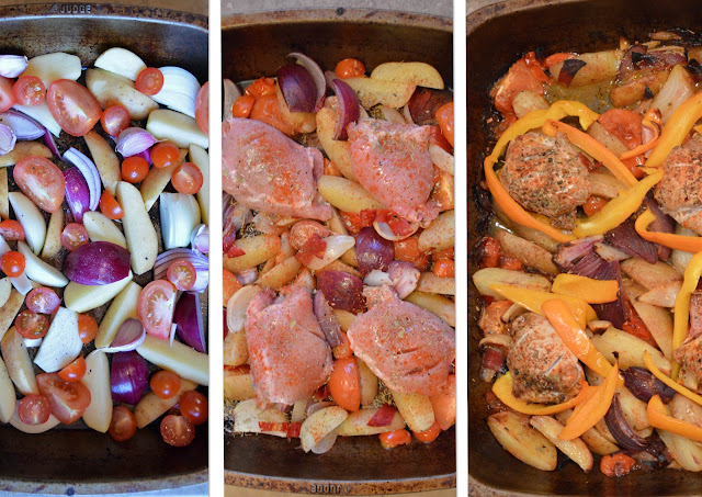 Three stages of cooking - spanish chicken traybake