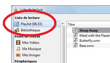 capture d'écran VLC - liste de lecture