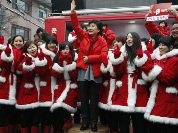 Park Geun-hye en campaña electoral en Corea