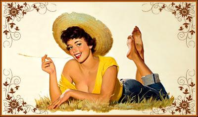 ilustración retro chica con sombrero de paja