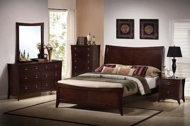 beautiful dark cherry wooden bedroom furniture with simple carpet on top of floor and minimalist room