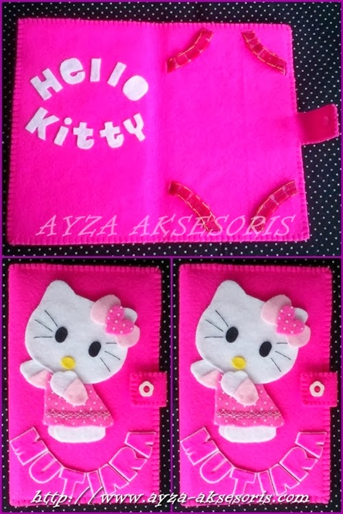 Tempat Tablet dari Kain Flanel Tema Hello Kitty