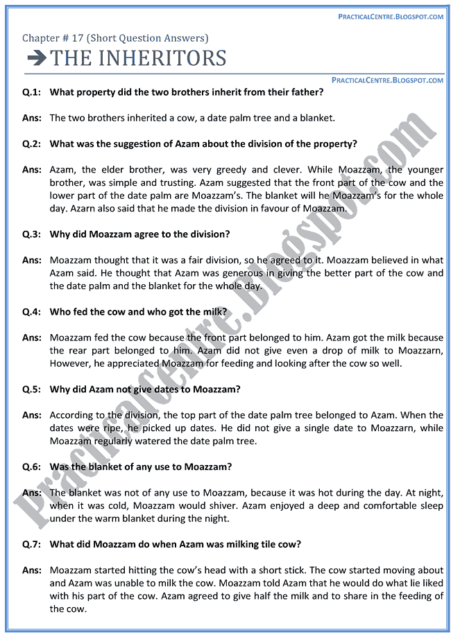 the-inheritors-questions-answers-english-x