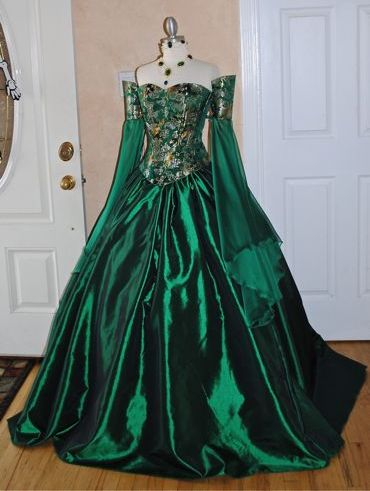 Green Off Shoulder Victorian Corset Dress