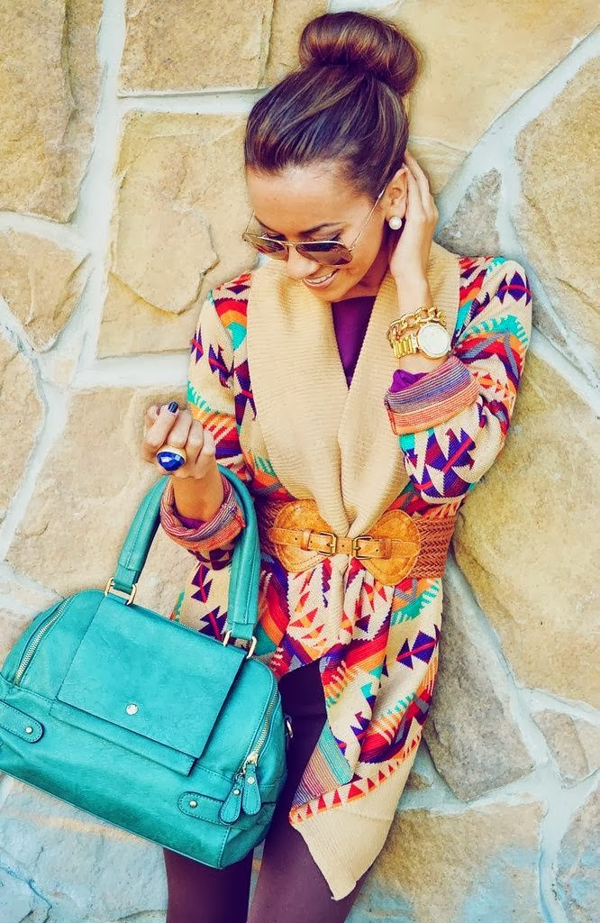 Fall fashion style with colorful cardigan trend