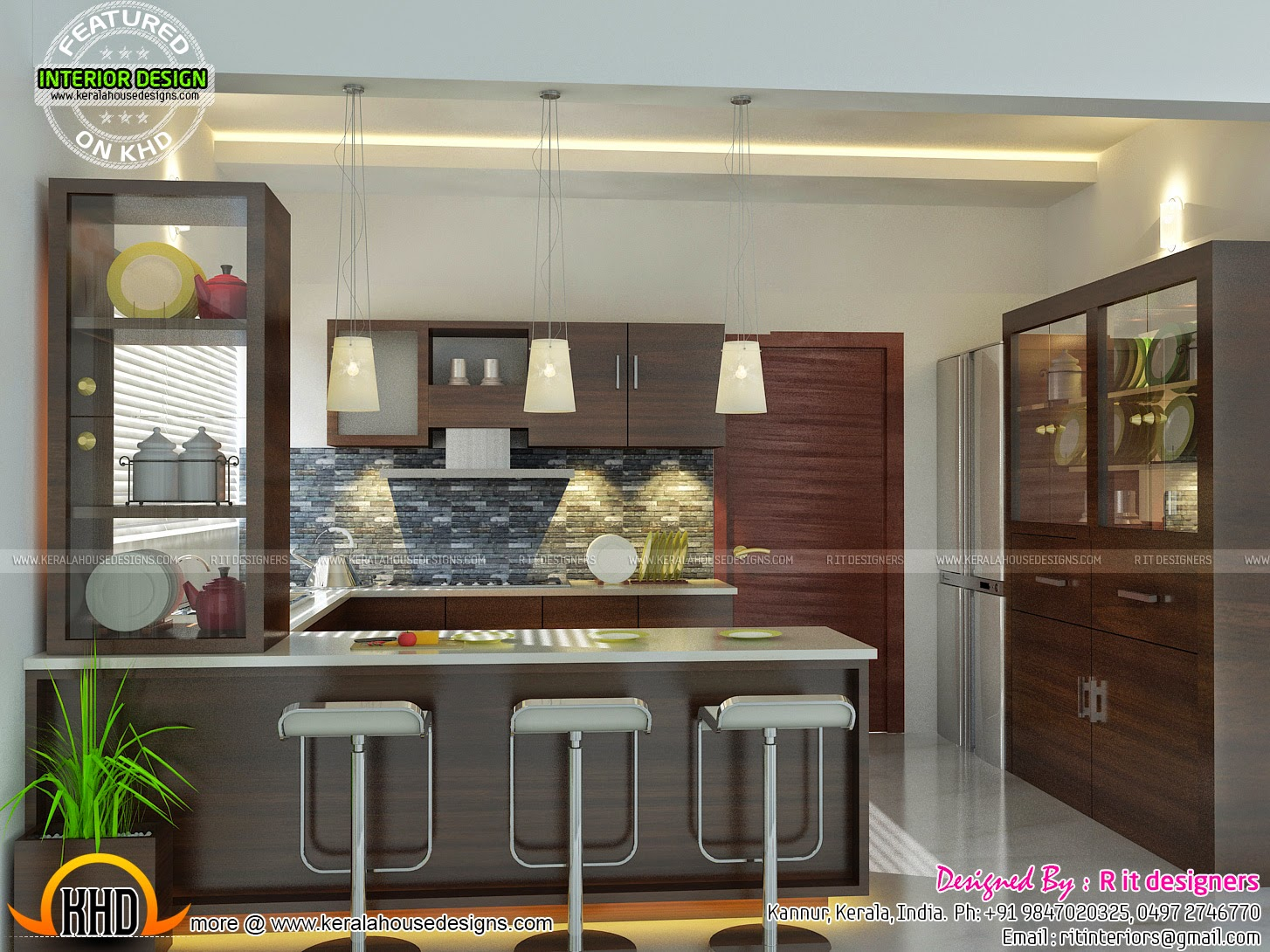 Modern and unique dining kitchen interior kerala home for Kitchen design kerala