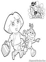 Mewarnai Gambar Kartun Dora The Explorer