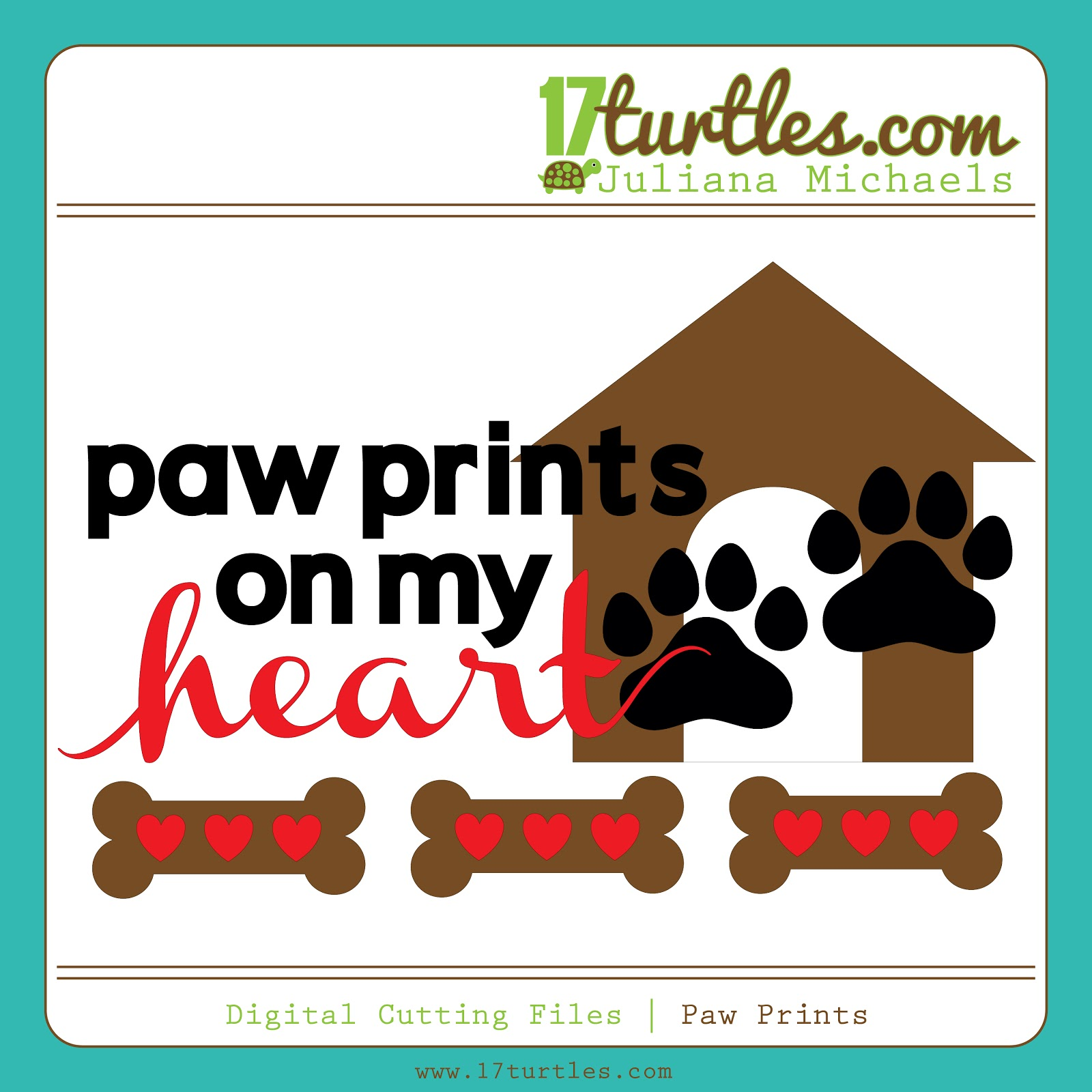 17turtles Digital Cut Files Paw Prints